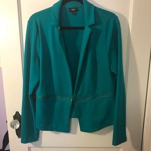 Mossimo Teal Knit Moto Blazer with Zip off Bottom